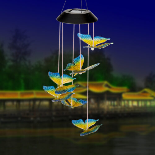 A0012 Blue Yellow Butterfly Solar Wind Chime LingBusiness