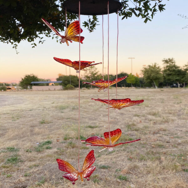 A0011 Maple Red Butterfly Solar Wind Chime LingBusiness