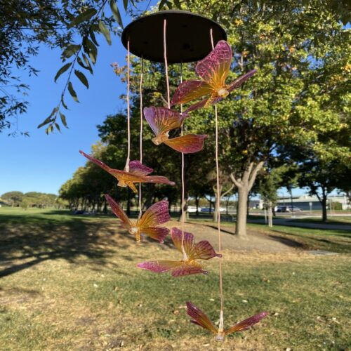 A0013 Purple Yellow Butterfly Solar Wind Chime LingBusiness