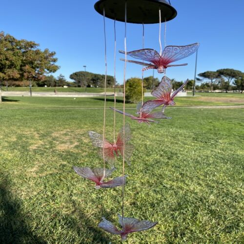 A0014 Blue Red Butterfly Solar Wind Chime LingBusiness