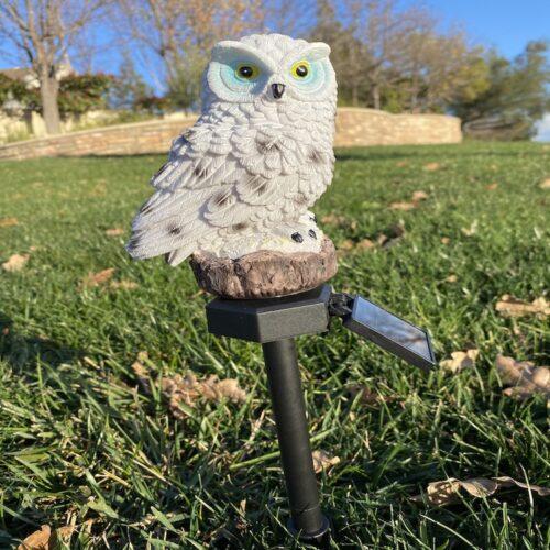 B0015_White Owl Solar Garden Stake Light LingBusiness