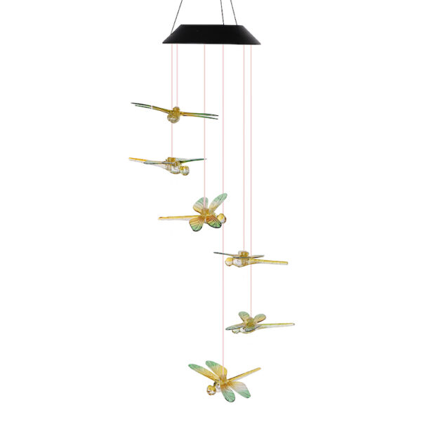 A0042 Green Dragonfly Solar Wind Chime LingBusiness