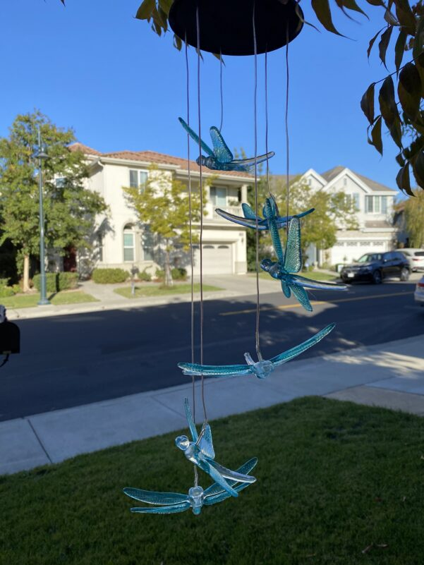 A0043 Blue Dragonfly Solar Wind Chime LingBusiness