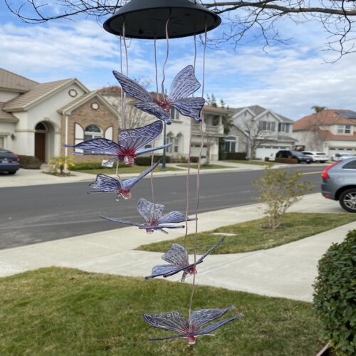 A0015 Dark Blue Butterfly Solar Wind Chime LingBusiness